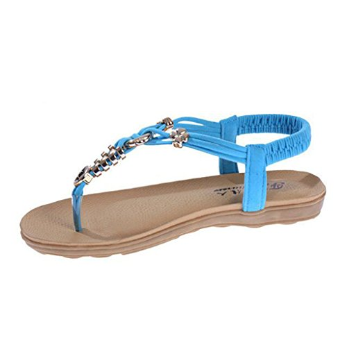 Sandals Beaded Straps Style Ankle Blue Bohemian Women's Open Binying Toe wfEx80ct
