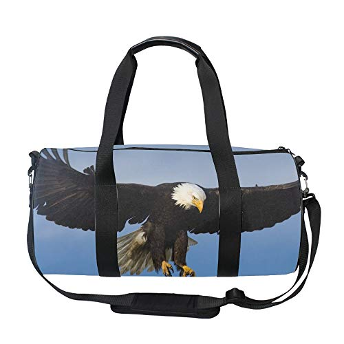 Bald Eagle Print Round Gym Duffle Bag Drum tote Fitness Travel Bag Rooftop Rack Bag ()