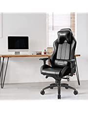 Focuseat Ergonomiskt kontorsstol för spel med andningsbara hål, Racing liggande datorstol med ländryggsstöd och nackstöd, PC-stol med återvinning PU-läder, stor justerbar svängstol för vuxna (Svart)