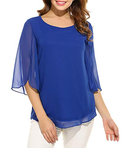 Oyamiki Womens Casual Loose Chiffon Blouses Scoop Neck Halft Sleeve Tops Shirts Blue/L
