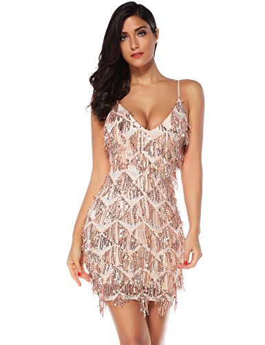 (Meilun Womens Sequin Fringe 1920s Flapper Inspired Party Dance Dress (Beige,)