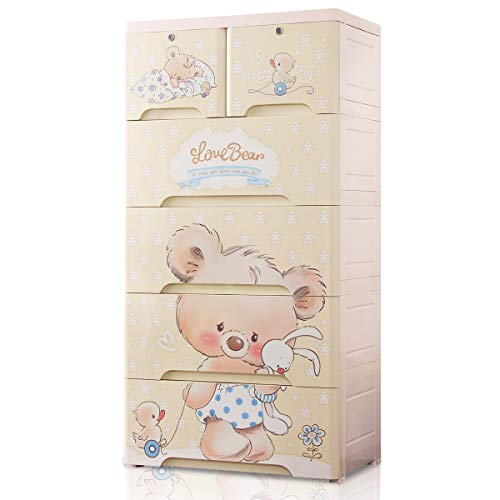 Nafenai 5 Drawer Large Size Storage Organizer Dresser,Baby Plastic Armoires Closet Wardrobe for Bedroom,Home,Bedroom,Nursury (26 inches Wide)