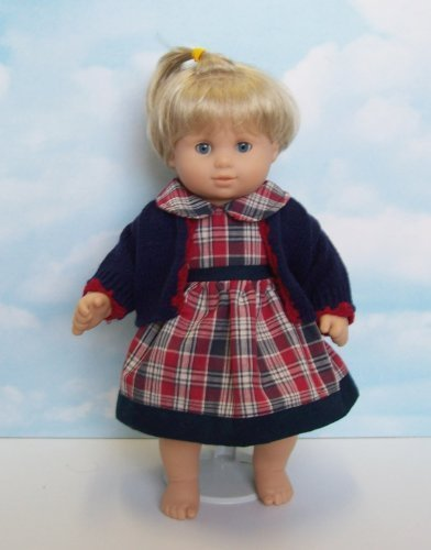 Red and Blue Plaid Dress with Cardigan Sweater. Fits