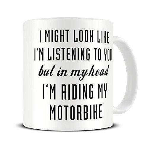 Motorcycle Gifts - Motorbike Gifts - Motorbike Mug - In My Head I'm Riding My Motorbike Mug - Motorcycle Mug Biker (Diy Monogram Wine Glasses)