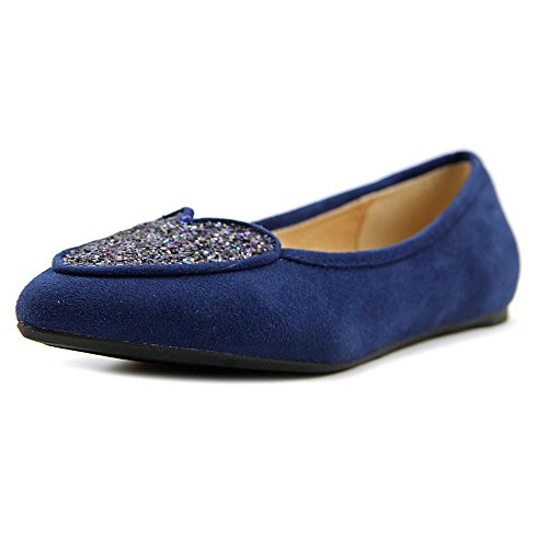 Penny Loves Kenny Womens Nookie Balletto Flat Navy Micro Suede