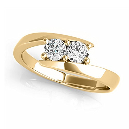 Diamond Solitaire Tension Two Stone Ring 18k Yellow Gold - Diamond Tension Solitaire Ring
