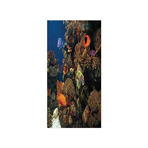 3D Decorative Film Privacy Window Film No Glue,Ocean,Undersea Wildlife Environment with Colorful Sponge Corals Tropic Fishes,Brown Orange and Blue,for Home&Office