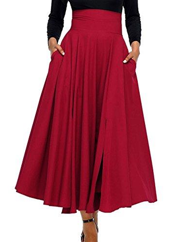 Casual Femme Bandage Fte t Taille Cocktail Haute Jupe Couleur Rtro Rouge Soire Plage Jupes Plisse Maxi de Jupe JackenLOVE Fashion Unie avec de nwFZ4xq7X