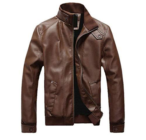 Pu Fit Sportiva Invernale Cerniera In Moto Lunga Da Tuta Con Manica Vintage Uomo Braun Giacca Slim Cappotto Pelle UXgw1xwa