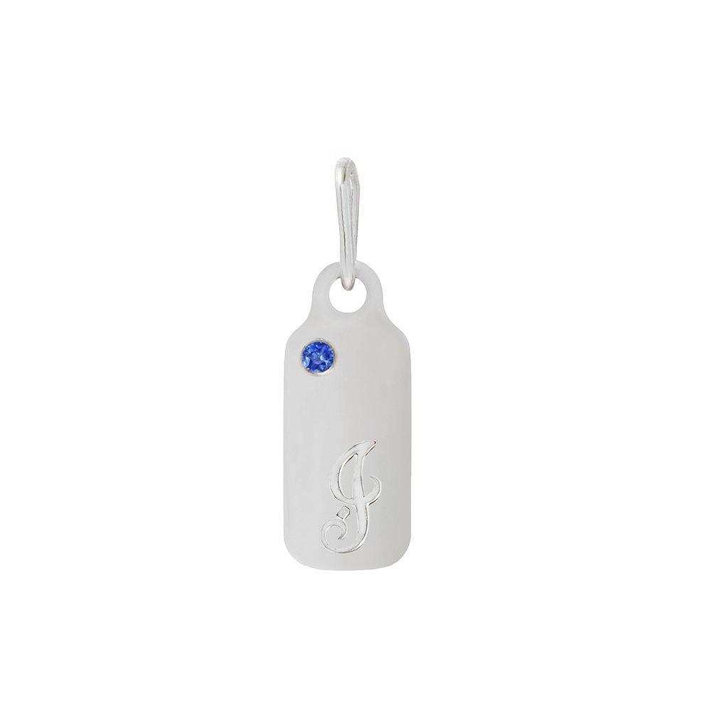 14k Gold Blue Sapphire September Birthstone Cursive Letter J Dog-tag Necklace