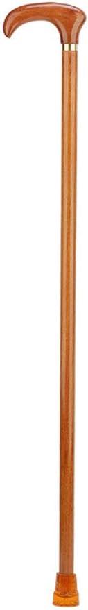 AA + 片手滑り止め軽量杖、ゴム底耐久性のあるワンピースウォーカー、丸いハンドルが付いている黄色い純木の杖
