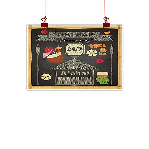 Sunset glow Wall Art Painting Print Hawaii,Traditional Tiki Bar Poster Design with Coconut Drink and Aloha Slogan Bamboo Frame, Multicolor 24