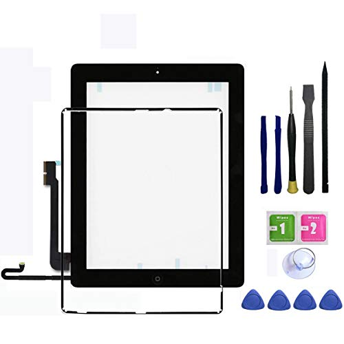 PC Hardware : IPad 4 Touch Screen Glass Digitizer Replacement Assembly Includes Home buttom + Camera Holder + Frame Bezel + Preinstalled Adhesive + Premium Repair Toolkit by FeiyueTech.(black)