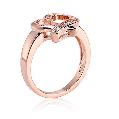 Heart Rhinestone Ring, Women's Solid Matte Romantic Rings Wedding Engagement Birthday Gift(6#)