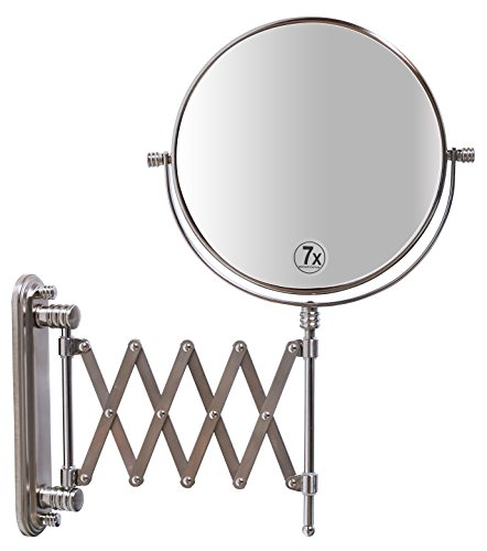 (DecoBros 8-Inch Two-Sided Extension Wall Mount Mirror with 7x Magnification, 13.5-Inch Extension, Nickel)