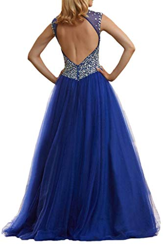 Steine La Tuell Linie Promkleider mia Rock Royal Bodenlang Braut Luxurioes A Partykleider Aermellos Prinzess Blau Abendkleider qqrxRtFUwB