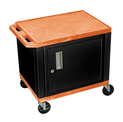 UPC 812552010495, H WILSON WT26ORC2E-B 2-Shelf AV Cart with Cabinet, Tuffy, Orange