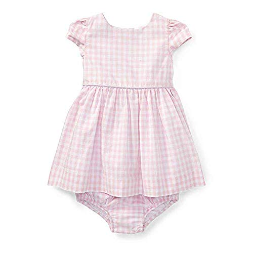Ralph Lauren Baby Girls Gingham Cotton Dress & Bloomer 9 Months