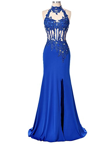 HEIMO Womens Long Mermaid Lace Evening Party Gowns Side Split Beaded Prom Formal Dresses H076 14 Royal Blue