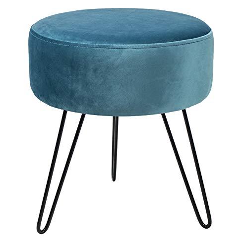 Sorbus Velvet Footrest Stool, Round Mid-Century Modern Luxe Velvet Ottoman, Footstool Side Table, Removable Metal Leg Design (Teal)