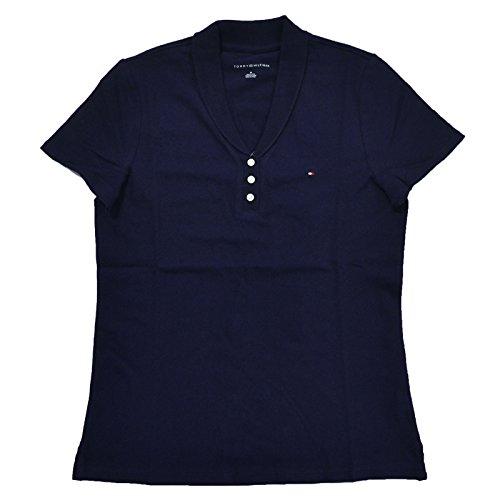 (Tommy Hilfiger Womens Stretch Mesh Polo Shirt (Medium, Navy Blue))