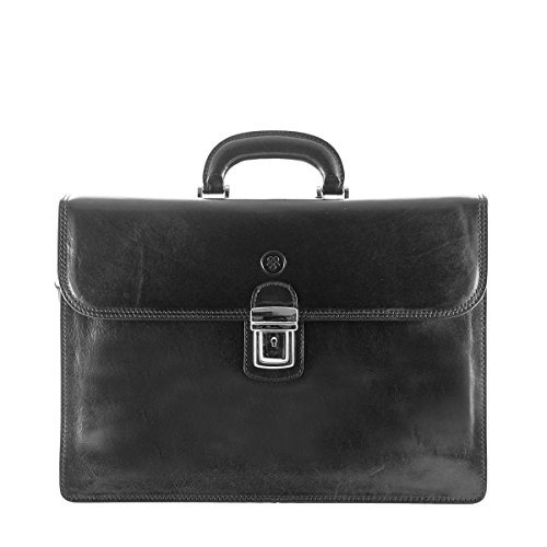 Maxwell Scott Luxury Black Quality Briefcase (The Paolo3) - One Size by Maxwell Scott Bags