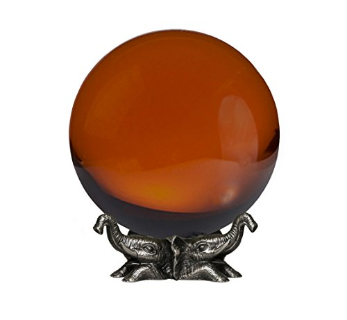 - Amlong Crystal 8 inch (200mm) Amber Crystal Ball with Elephant Stand