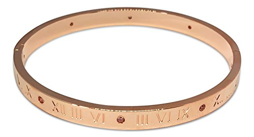 Designer Inspired Roman Numerals Titanium Steel Cuff Bracelet Bangle With Austrian Crystals (Rose ()