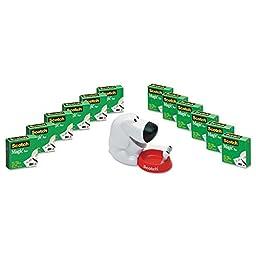 Scotch Magic Tape with Dog Tape Dispenser, 3/4 x 1000 Inches, 12 Rolls, 1 Dispenser (810K12C31DOG)