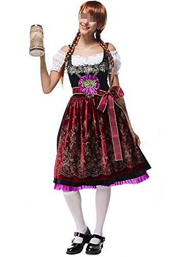 Womens Oktoberfest Costume Bar Maid Bavarian Ethnic traditional costumes Dress (Bavarian Costume Female)