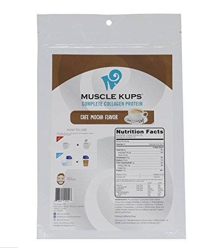 (Muscle Kups Complete Protein Drink with Caffeine and Grass Fed Collagen Peptides for Added Health Support and Energy, 30 Servings, Café)