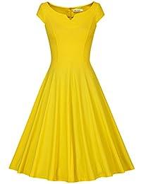 MUXXN Women's Vintage Cap Sleeve Tea Length Rockabilly Swing Dress