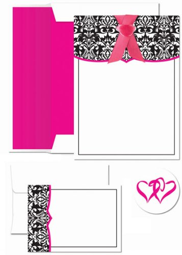 (Image Shop 20091646 Classic Damask With Fuchsia Invitation and Note Card Kit)