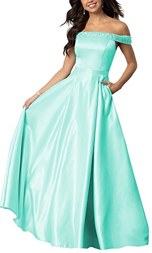 Beaded Long Prom Dresses Off The Shoulder Satin A-Line Evening Gown With Pocket Mint Green Size - Delivered Not Fedex On Time