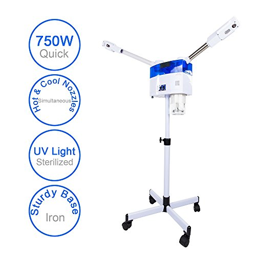 Mefeir Upgraded 2 in 1 Hot & Cool 750W Facial Steamer Machine UV-Light with Iron Stand Base,Portable Adjustable Height,Salon Spa Face Treatment Home Skin Care (750W 2 IN 1 Hot & Cool Steamer)
