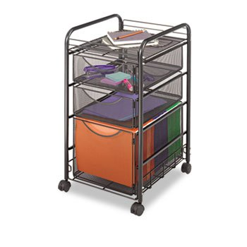 Onyx Mesh Mobile File w/Two Supply Drawers, 15-1/2w x 17d x