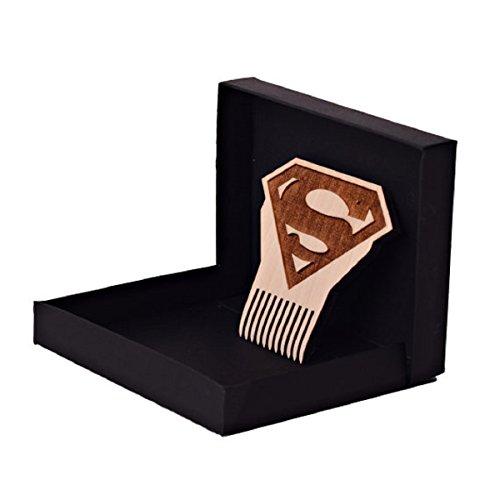 Superman Logo Beard Comb, Mens Wooden Facial Hair Brush - Beard Gains