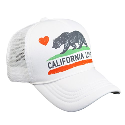 Adjustable Mesh Trucker Cap (California Love Printed Mesh Hat California Republic Bear Heart Summer Trucker Hat Adjustable Baseball Cap (White))