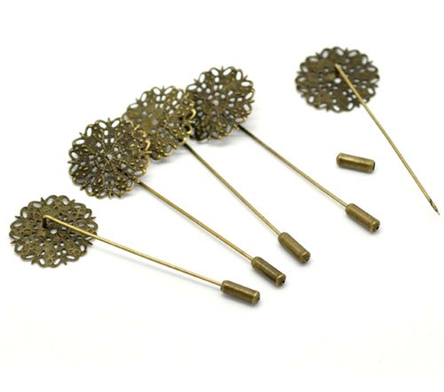 Rockin Beads Brand, 20 Antique Gold Tone Tone Beading Coat Stick Pin with Clutch Brooches 2-1/2 Inch (1