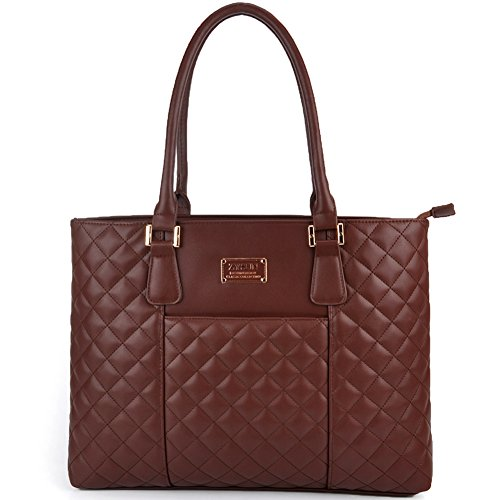Laptop Bag for Women, 15.6 IN Thicker PU Leather Anti-vibration Laptop Tote with Smooth Zipper by ()
