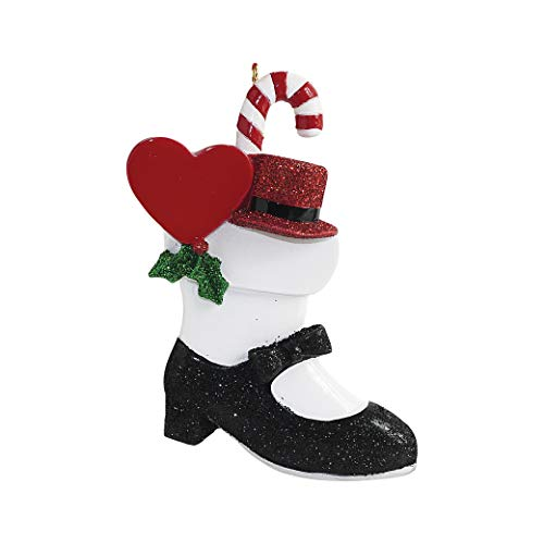 Personalized Tap Shoe Stocking Christmas Tree Ornament 2019 - Glitter Black Dance Slipper Red Hat Heart Step Percussion Broadway Performance Teach Class Hobby First Recital Year - Free Customization