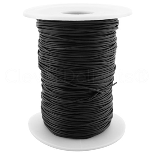 Round Necklace Rubber (CleverDelights Black Solid Rubber Cord - 75 Feet - 1mm (1/32