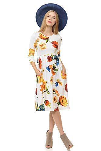 iconic luxe Women's Fit and Flare Midi Dress with Pockets Medium Floral Ivory Yellow ()