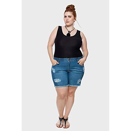 Shorts Jeans Stone Puídos Plus Size Azul-50