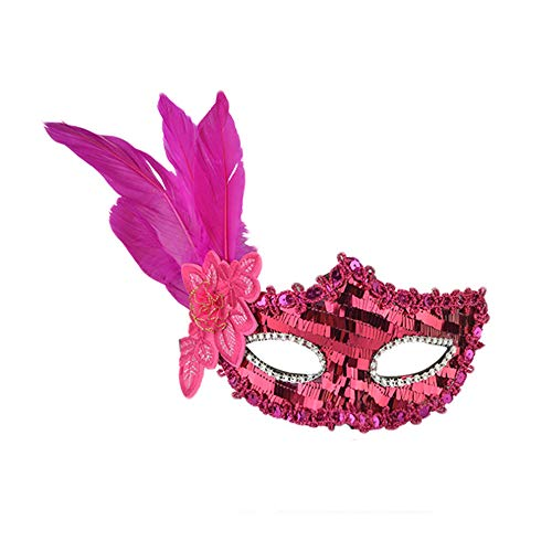 - Rumas Sexy Carnival Party Masquerade Mask for Women - Cosplay Accessory Face Mask for Halloween Christmas Festival - Black Hot Pink Purple Red Yellow (Hot Pink)