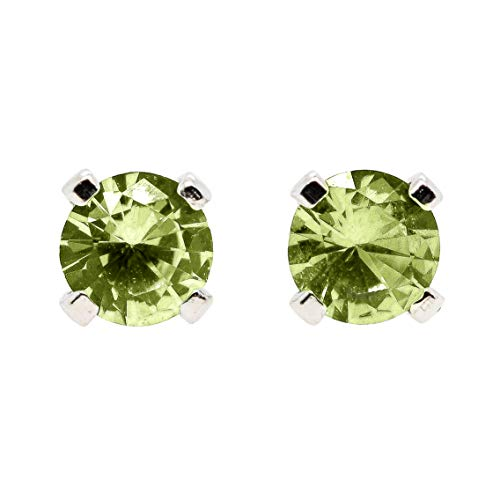 Green Peridot - Large 6mm Lime Green Peridot Gemstone Post Stud Earrings in Sterling Silver - August Birthstone