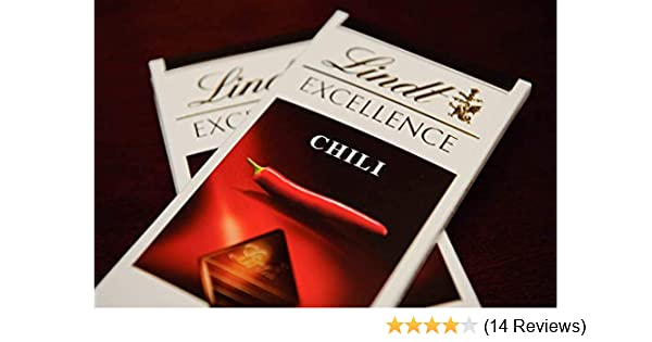 Lindt Excellence Dark Chocolate with Chili Bar, 3.5 Oz, 2 Pack