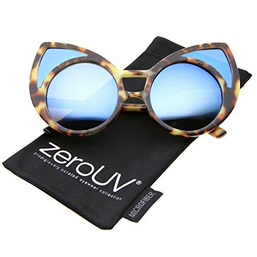 zeroUV - Women's Oversize Colored Frame Mirror Lens Cat Eye Sunglasses 52mm (Tortoise / Blue - Glasses Tortoise Colored