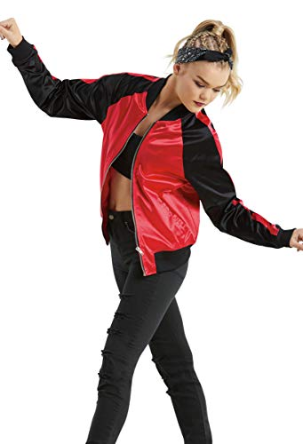Balera Jacket Girls Bomber for Dance Long Sleeve Satin Zip Up Athletic Coat Red/Black Adult Small from Balera