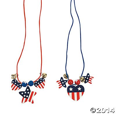 Kids 4th of July crafts Patriotic Wood Necklace Craft Kit